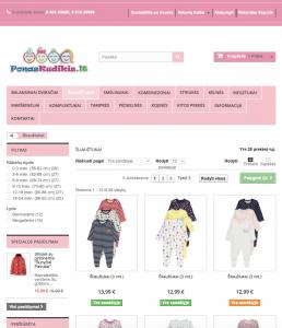 Parduodama vaikiškų prekių elektroninė parduotuvė