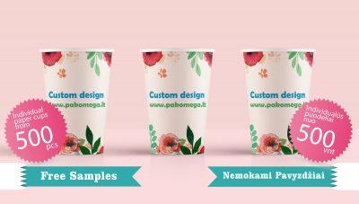 Vienkartiai puodeliai, kartoninės pakuotės, reklaminė spauda